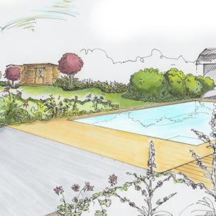 """Gartenplanung – Wohnhaus mit """"natürlichem"""" Garten und Pool"""